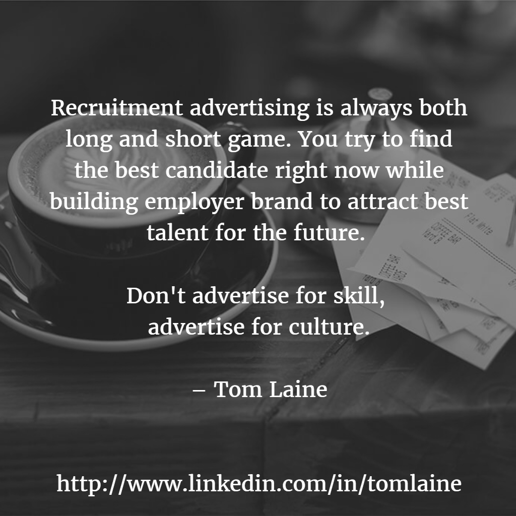 Recruitment advertising is both long and short MEEMI